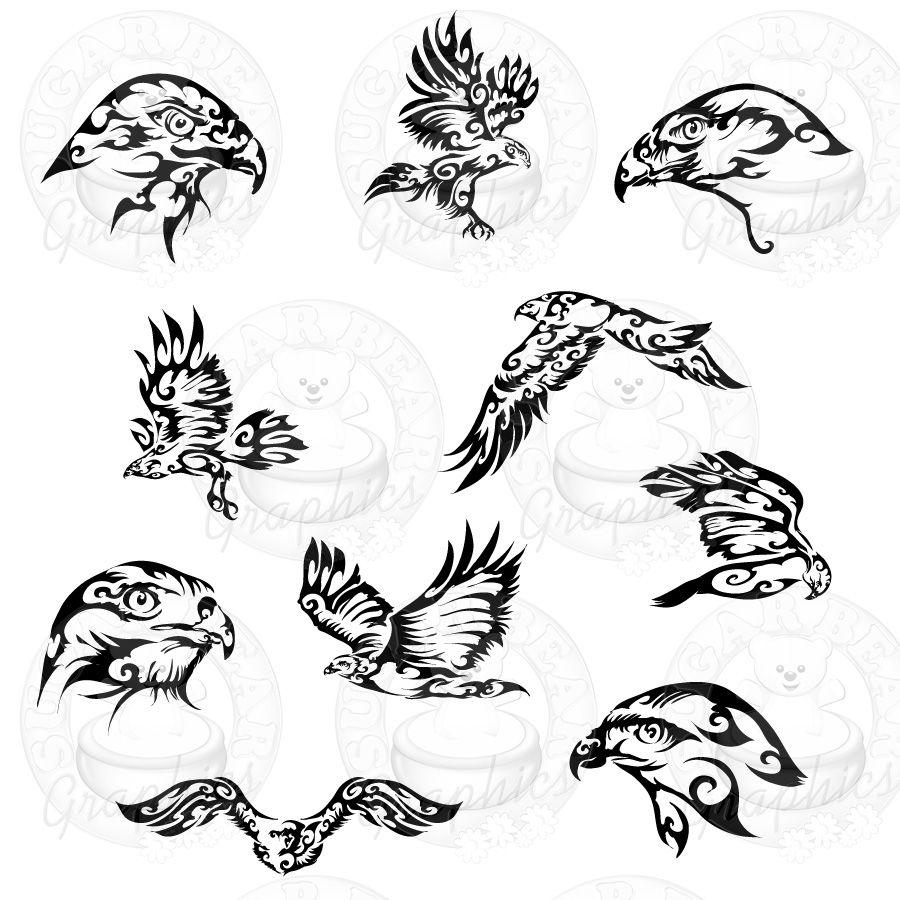 Tribal Falcons 4 Left Falcon Tattoo Archery Tattoo Tribal Art