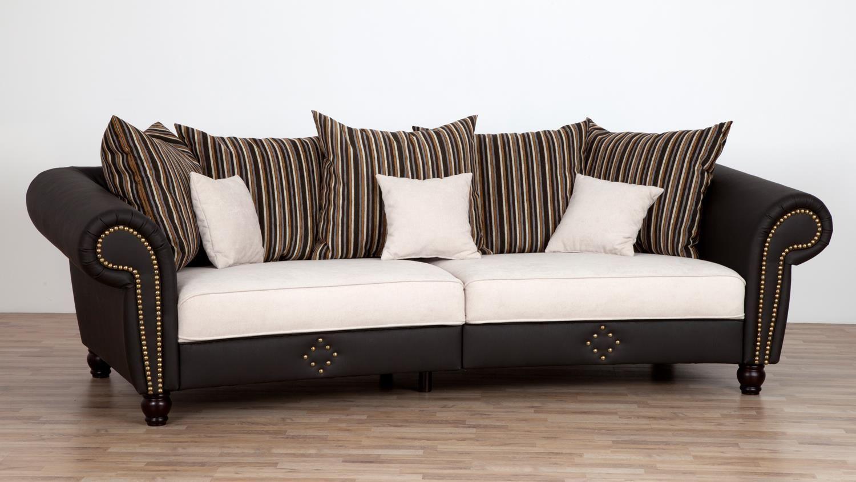 big sofa santana dunkelbraun beige mit nosagfederung und kissen 272 cm einrichtungsideen. Black Bedroom Furniture Sets. Home Design Ideas