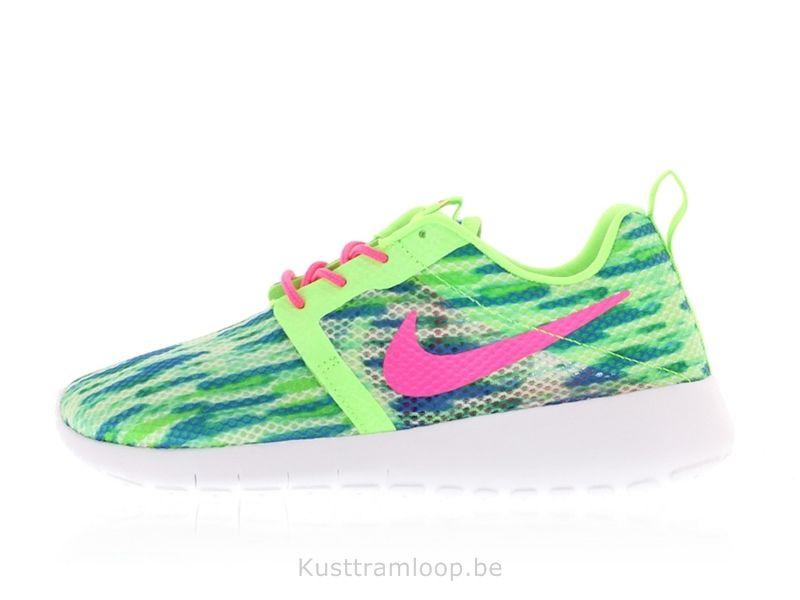 Nike Roshe Run Vol Poids GS Blanc / Rose Pow-Menta Flash Lime Nike Air