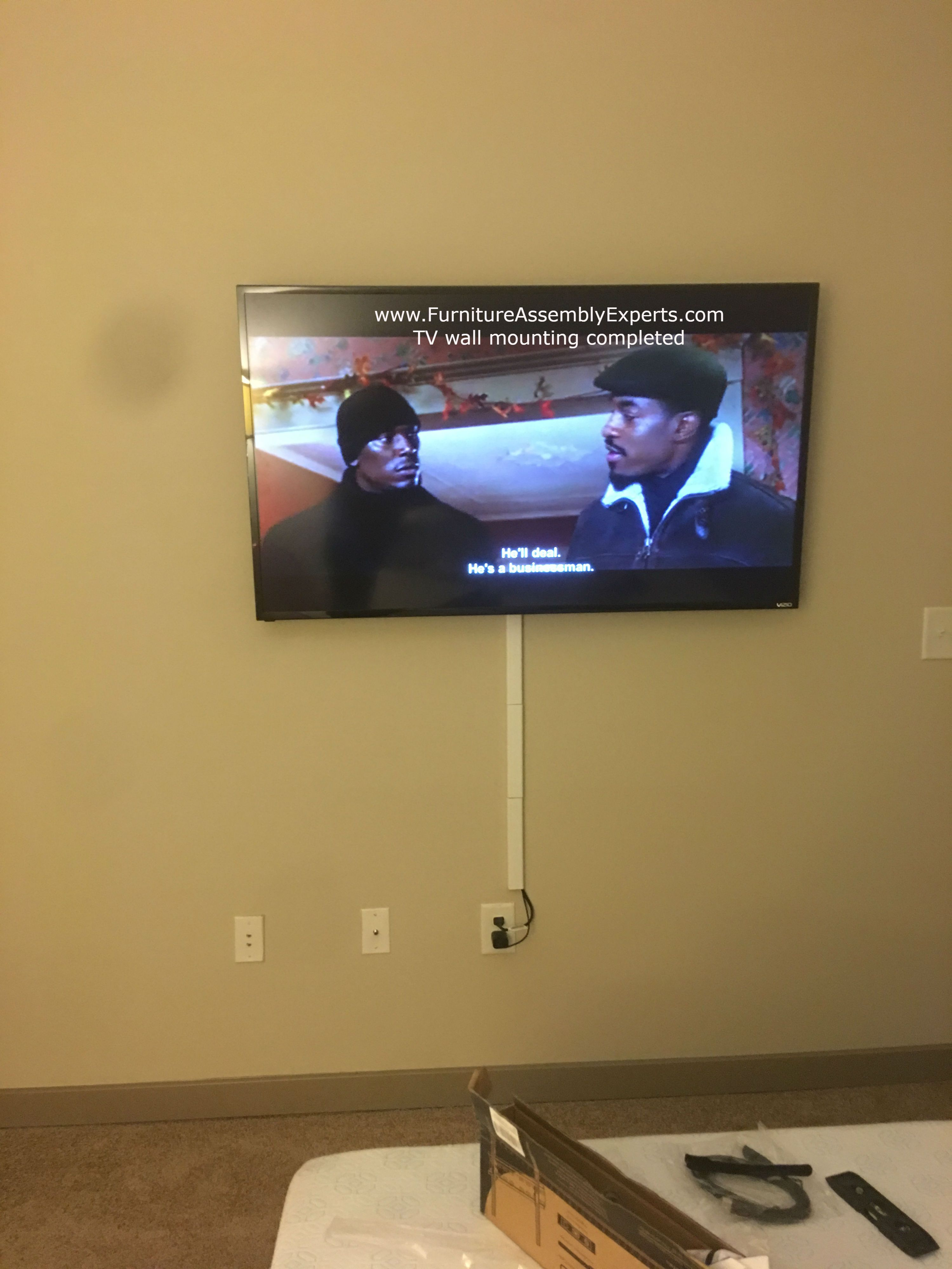 Tv Wall Installation Completed For A Customer In Rising Sun Maryland By Professionals From Furniture Assembly Expe Tv Wall Installation Tv Wall Wall Mounted Tv