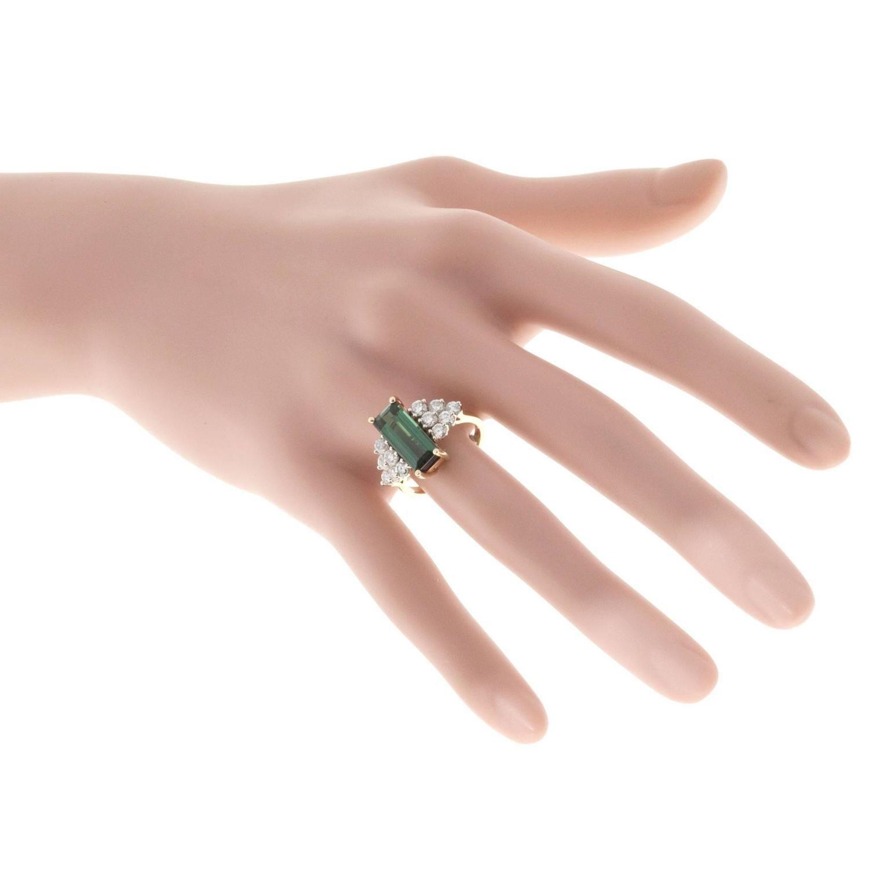 Peter Suchy Elongated Green Tourmaline Diamond Gold Ring | Green ...