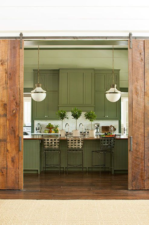Southern Living - kitchens - Sherwin Williams - Pewter Green - Benjamin Moore Oyster Bay, green kitchen, green cabinets, green kitchen cabin...
