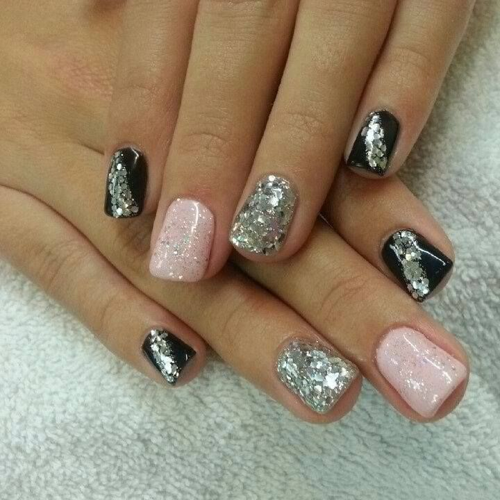 26 Red And Silver Glitter Nail Art Designs Ideas: Glitter Black, Silver And Pink :)