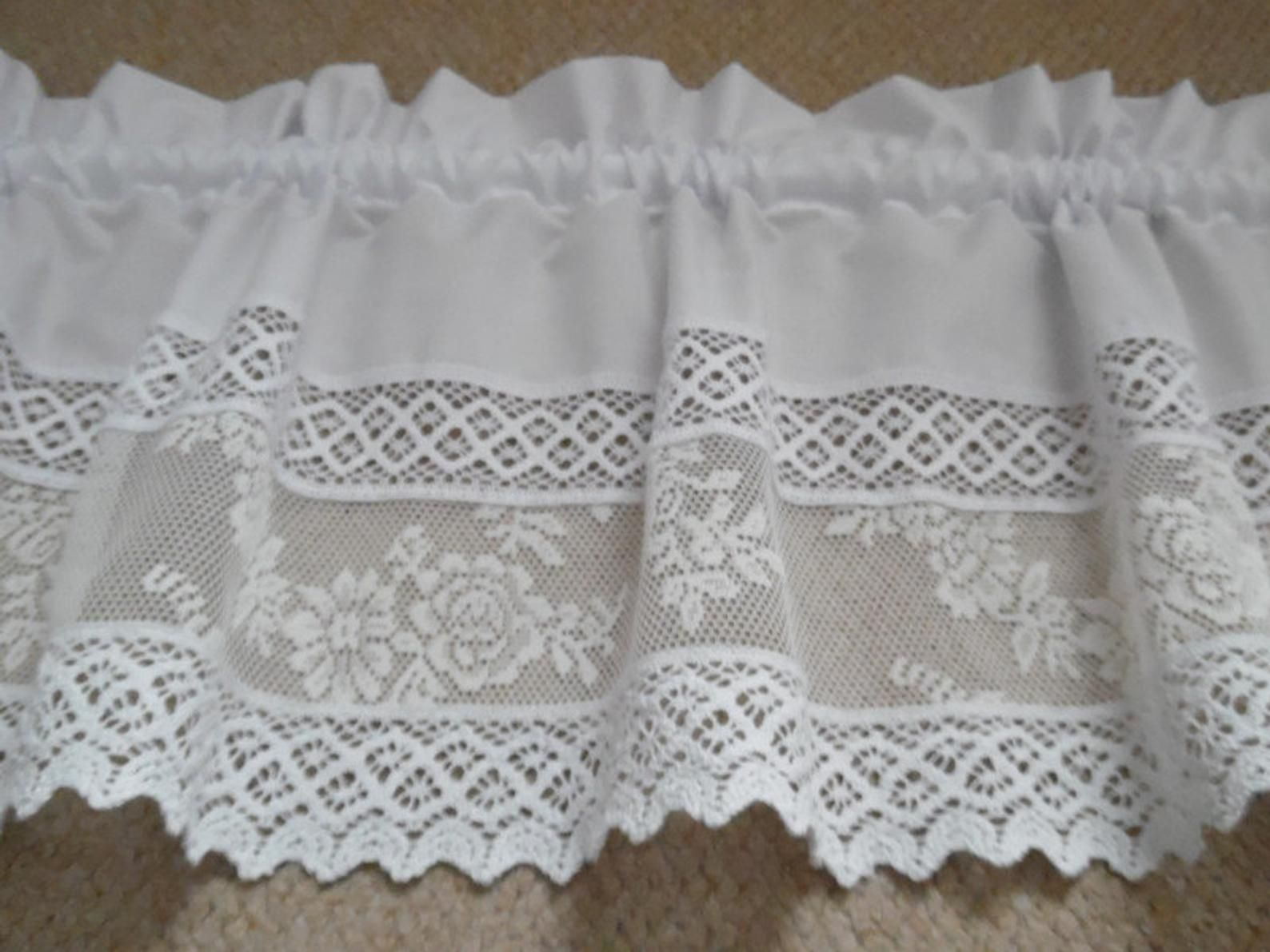 French Vintage Scheibengardine Spitze Lace Weiss Etsy Lace Lace Shorts Women