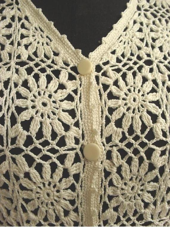Marfil crochet Sweater_ elegante encaje de ganchillo Sweater_ suéter nupcial