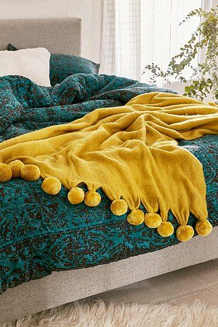 Pyper Pom Pom Throw Blanket Urban Outfitters With Images Aesthetic Bedroom Pom Pom Throw Blanket Yellow Throw Blanket