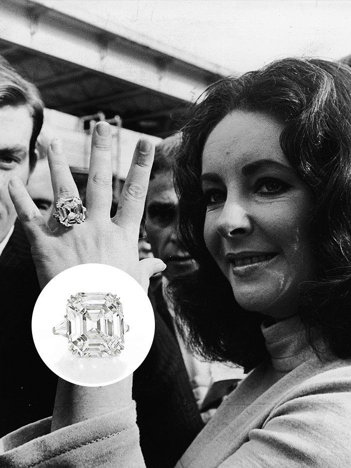 Elizabeth Taylor And Her Enormous Diamond Engagement Ring! Via @WhoWhatWear  #wedding #celebs