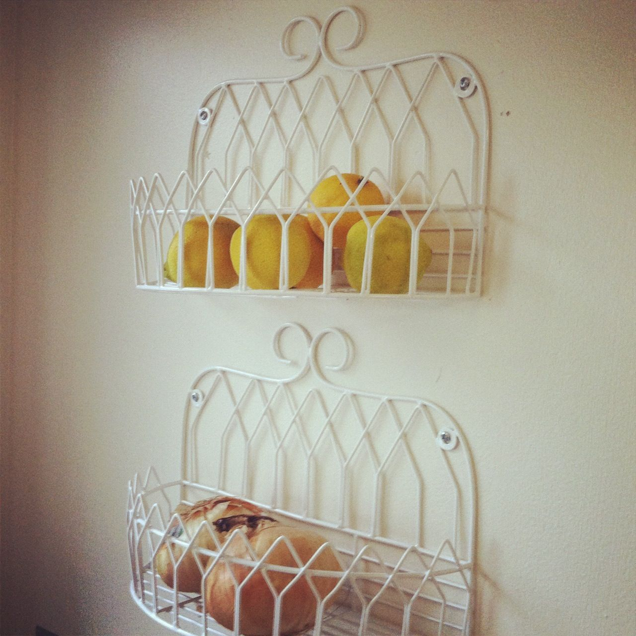 Hanging Basket Kitchen Wall Storage Cute To Keep Fruit And Veggies Out Of The Way