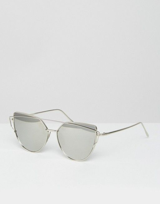 69811f4104b6 Jeepers Peepers flat lens cat eye sunglasses with silver frame and ...