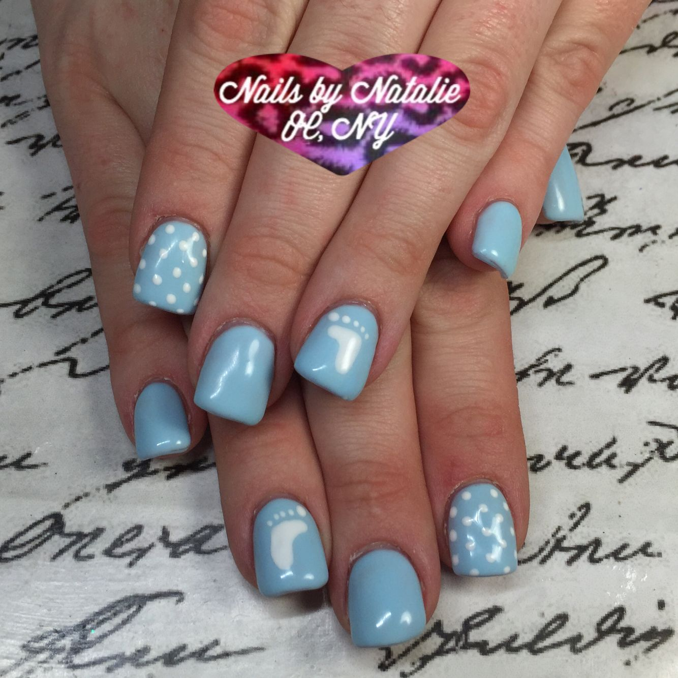 Gel Nail Designs Baby Shower Themed Using Gelish Cnd Brisa Overlay And Hand Painted Dots And Feet Baby Boy Nail Baby Nails Baby Shower Nails Baby Boy Nails