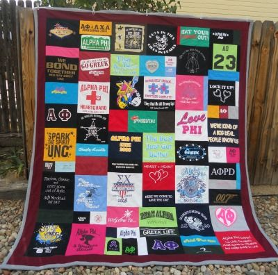 T Shirt Memory Quilt , Custom, College Sorority with Border for University of Northern Colorado