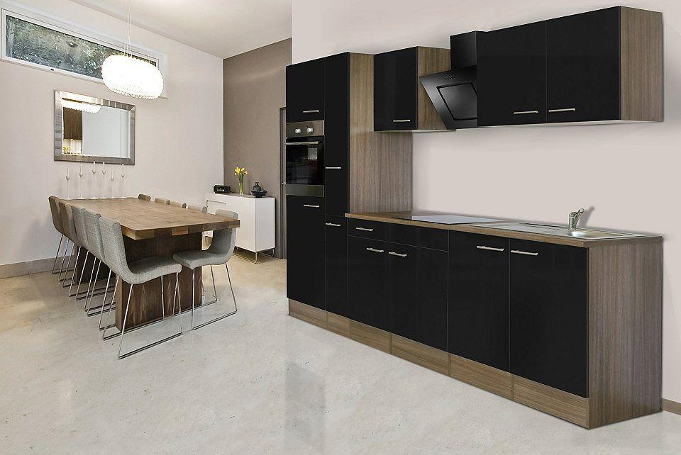 Respekta Winkelküche KBL370EYWMISGKE 370 cm Weiß-Eiche York - küchenzeile 220 cm mit elektrogeräten
