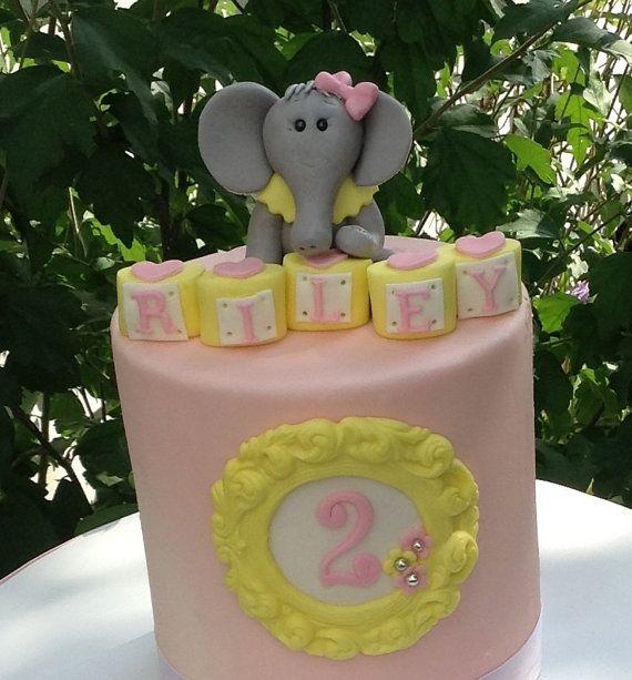 Elephant Birthday Cake Topper Edible Fondant Baby Shower First