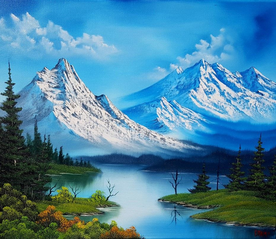 Bob Ross Style painting with lots and lots of mountains.