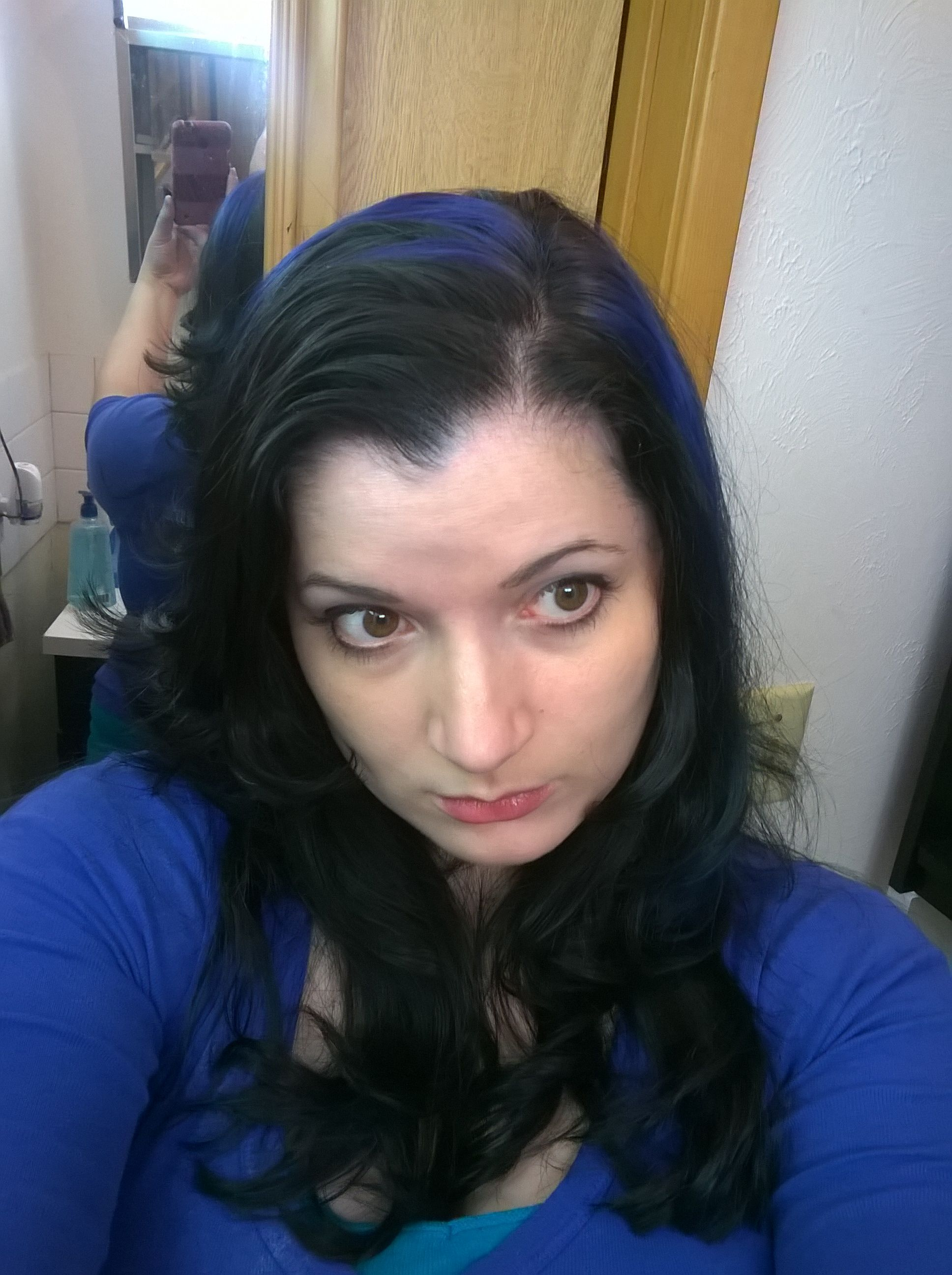 Black Hair With Blue Streaks Hair Makeup Black Hair Blue Black