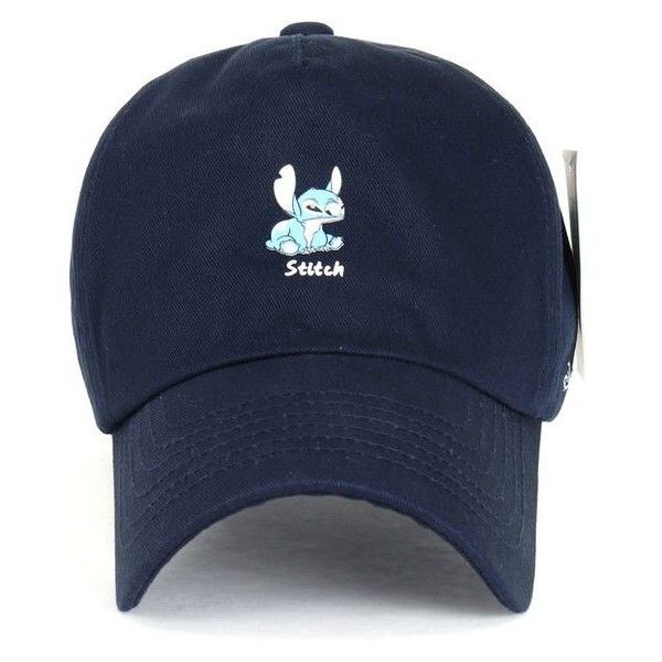14dd2e1550fca Disney Lilo Stitch Cute Logo Cotton Adjustable Curved Hat Baseball Cap ❤  liked on Polyvore featuring