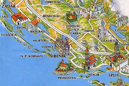 Map Of Sibenik Area Sibenik Zadar Croatia