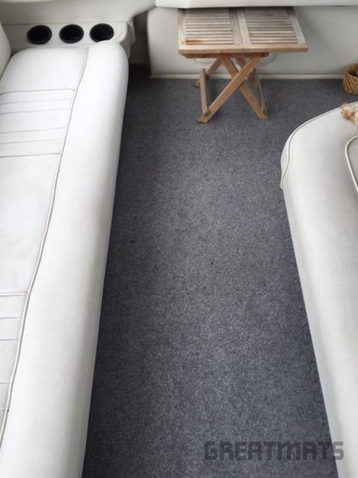 This Customer Used Greatmats Royal Interlocking Carpet Tile For His Boat.