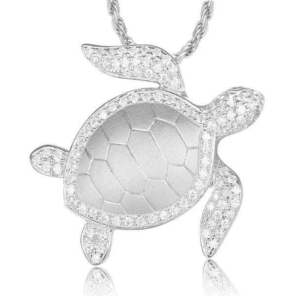 Solid 925 sterling silver hawaiian sea turtle honu slide pendant cz solid 925 sterling silver hawaiian sea turtle honu slide pendant cz rhodium aloadofball Gallery