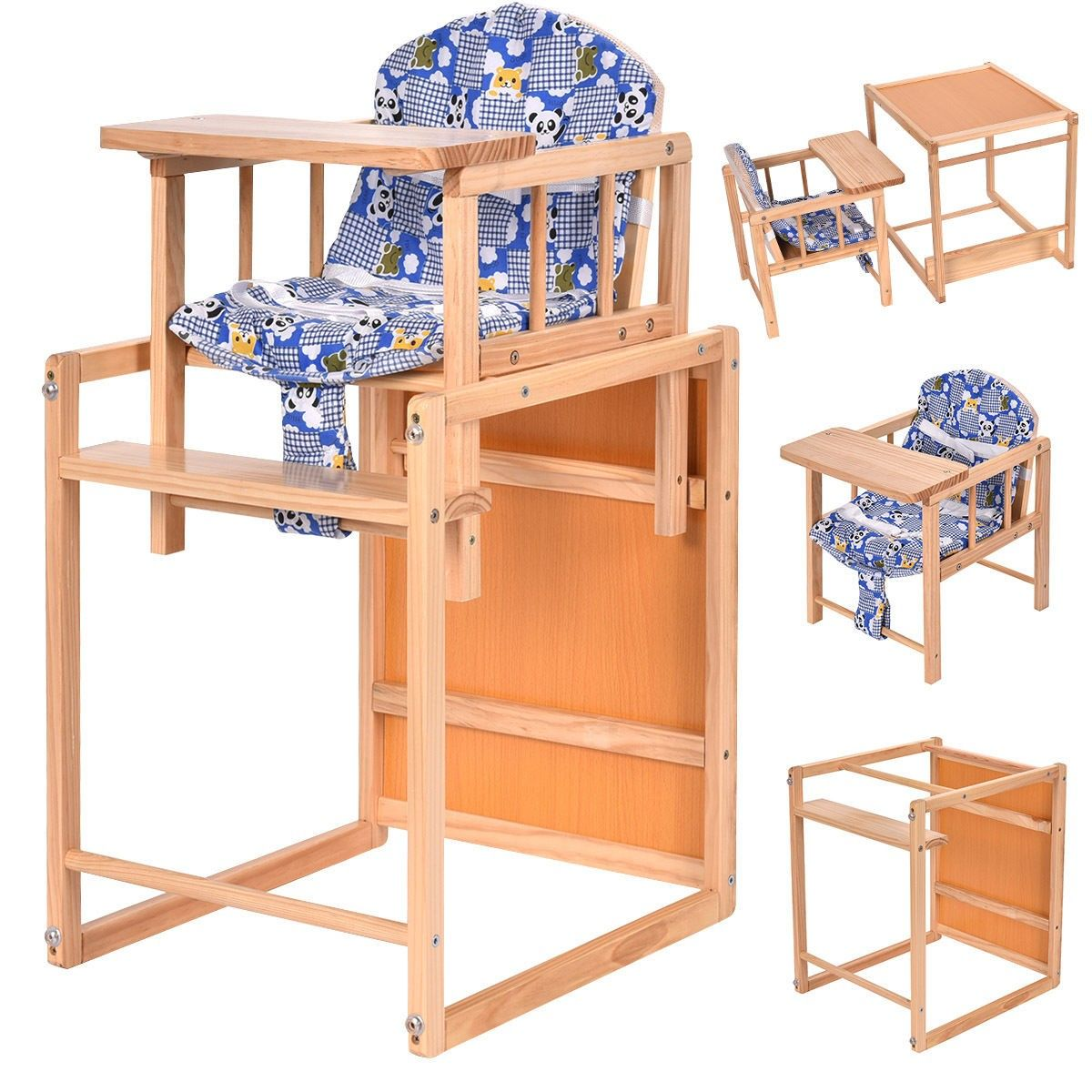 Brilliant 2 In 1 Solid Wooden Baby High Chair Feeding Infant Toddler Caraccident5 Cool Chair Designs And Ideas Caraccident5Info