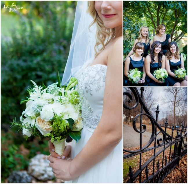 Bride with white rose bouquet. Casablanca 2077 Wedding Gown. Bridesmaids and wrought iron fence at Lafayette park in Lafayette Square near Soulard MO. White and black wedding. Natasha McGuire Photography. http://www.natashamcguireblog.com