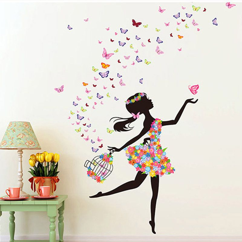 Fashion modern diy decorative mural pvc girl butterfly for Diy colorful wall art