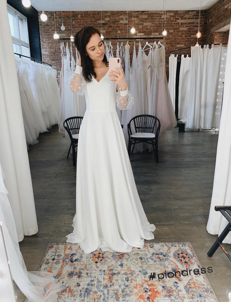 Chiffon Wedding Dress Long Sleeve Wedding Dress Simple Wedding Dress Modern Wedding Dress A Line Wedding Dress Deliya In 2020 Long Sleeve Satin Wedding Dress Long Sleeve Wedding Dress Simple Midi Wedding [ 1039 x 794 Pixel ]