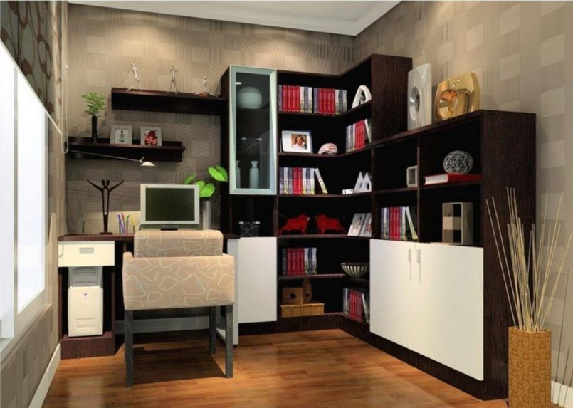Attractive And Cool Home Office Cabinet Ideas. Cool L Shape Small Office  Chocolate White Oak Corner Cabinets Plus Computer Desk With Storage  Marvelous ...