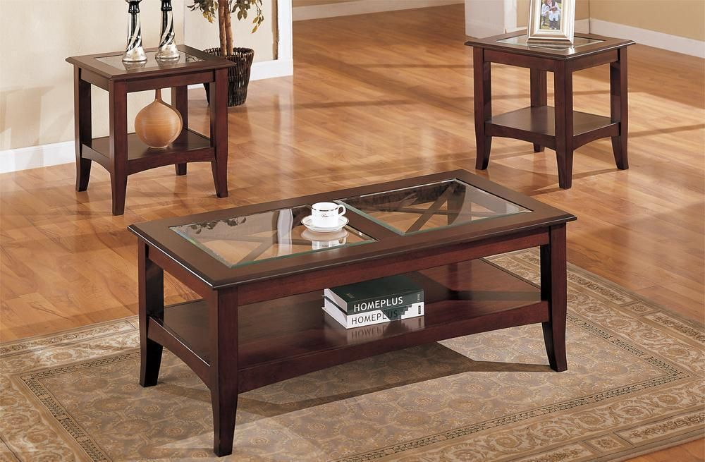 Best Wooden 3 Piece Table Set With Glass Top In Dark Cherry 400 x 300