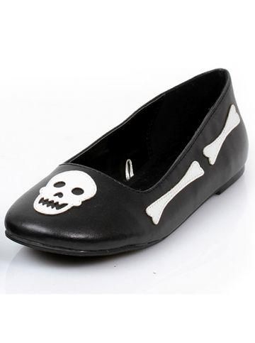 "Kid's ""Skull and Bones"" Flats by Ellie Shoes (Black) #InkedShop #Skull #Bones…"