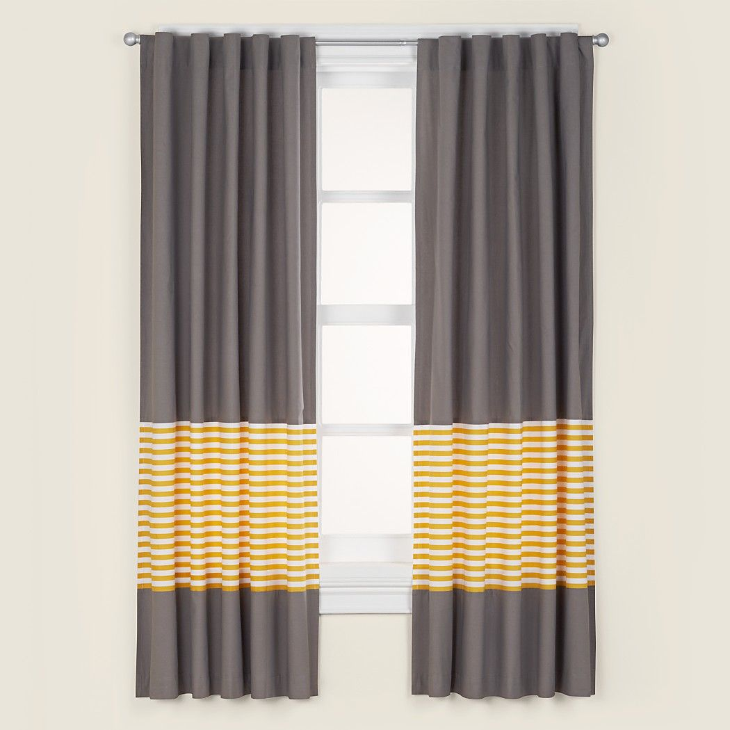 We Weren T Going To Say A Word About Our Not A Peep Curtains But Then We Thought How Else Would You Ev Yellow Curtains Yellow And Grey Curtains Kids Curtains
