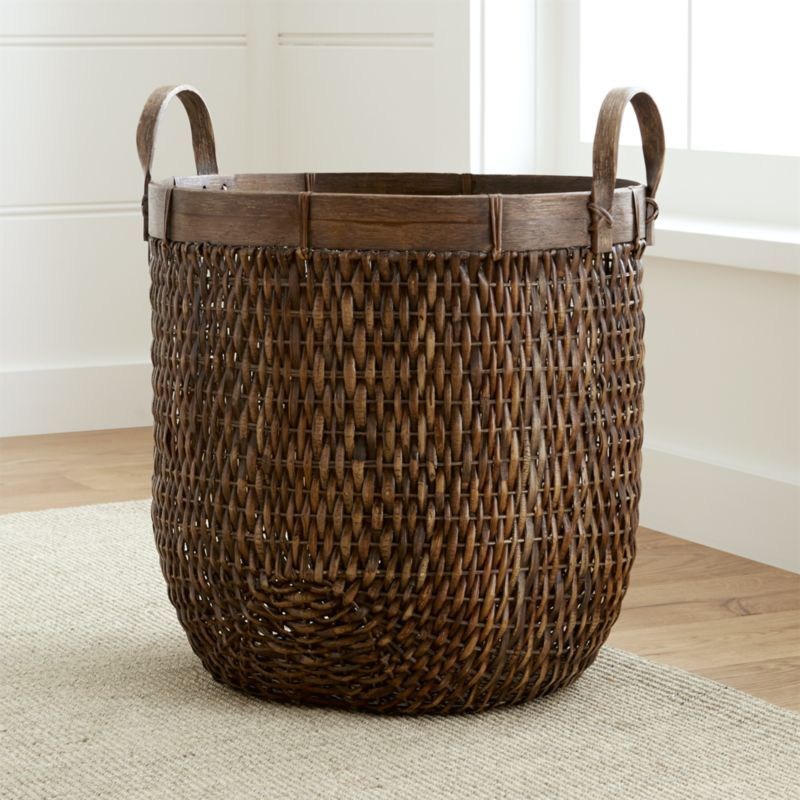 Halton Oval Rattan Basket Tall Reviews Crate And Barrel Basket And Crate Rattan Basket Wicker Baskets Storage
