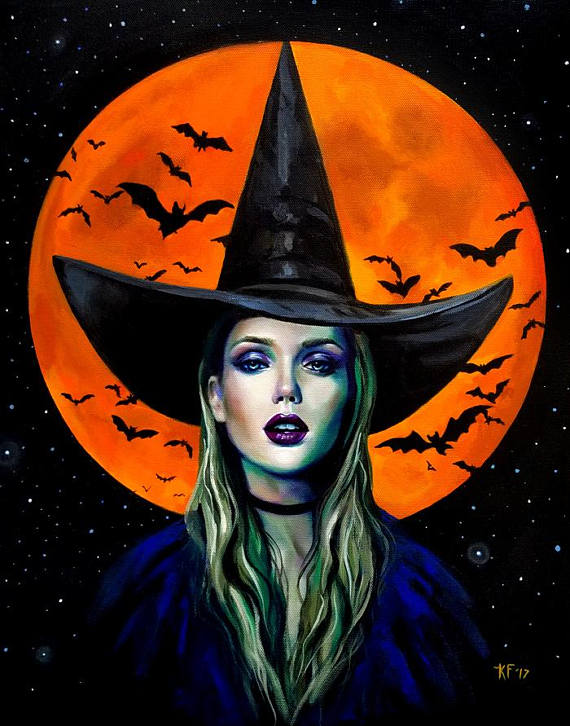Halloween Artwork Witch Print Witch Halloween Art Witchcraft