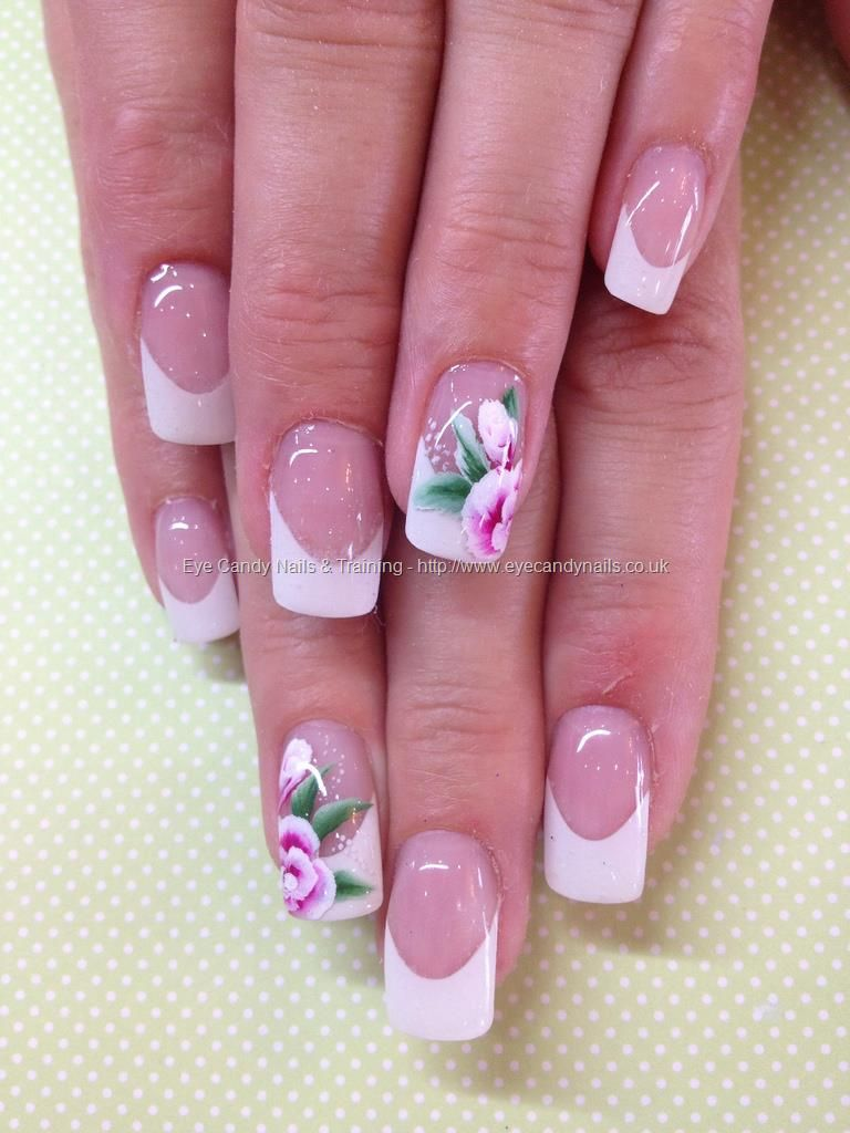 White+French+gel+overlays+with+one+stroke+flower+nail+art | Nails ...