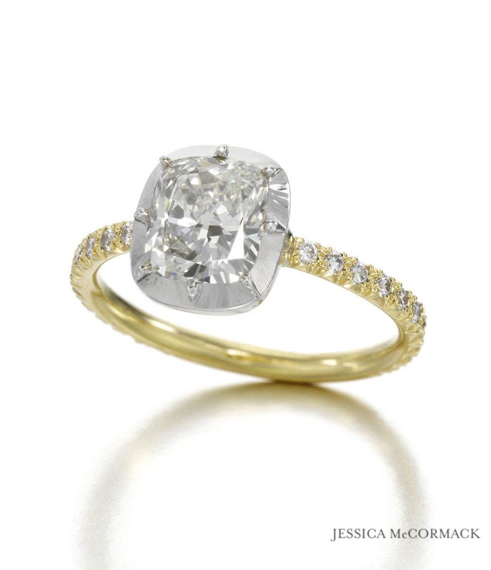 Jessica Mccormack Cushion Buttonback Engagement Ring {diamonds, Yellow Gold,  White Gold
