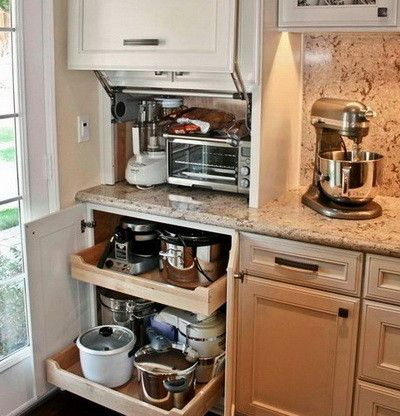 40 Appliance Storage Ideas For Smaller Kitchens Small Kitchen Appliance Storage Kitchen Storage Solutions Small Space Kitchen Storage