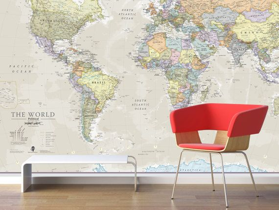 Giant World Map Mural - Classic - Home Decor, Living Room ...