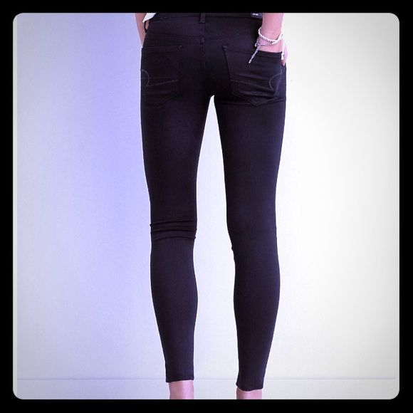 AEO Sateen Jeggings Black Jean Jeggings American Eagle Outfitters Jeans Skinny