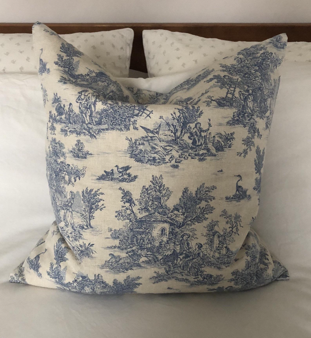french vintage cushion cover blue