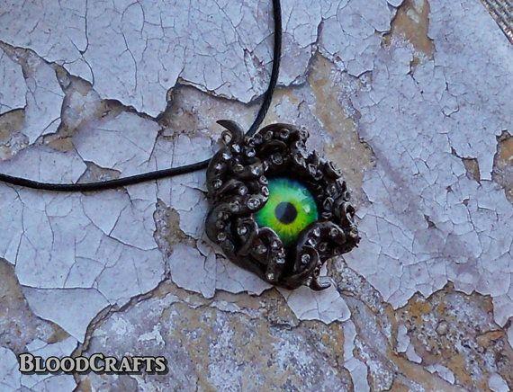 Dark Βrown Tentacle eye octopus handmade fantasy by BloodCrafts