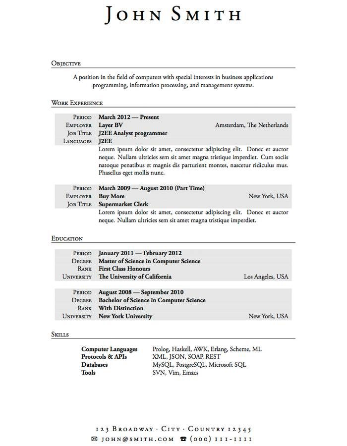 Latex Resume Example  Resume Samples    Resume Examples