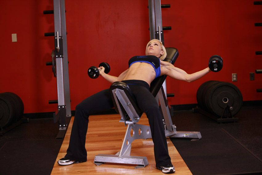 Image result for woman Dumbbell Incline Flyes gif