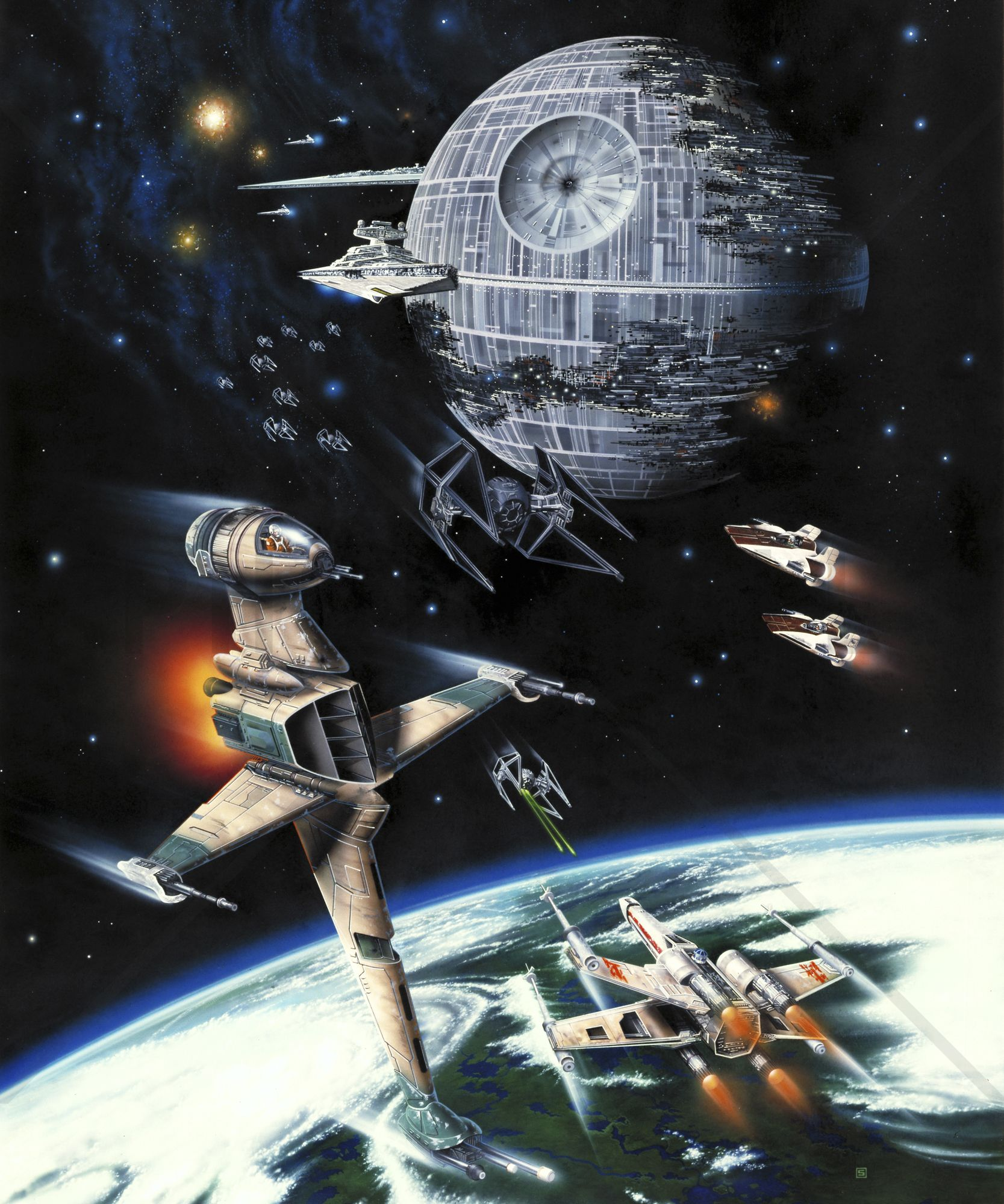Star Wars Death Star and Endor Wall Mural Photo Wallpaper