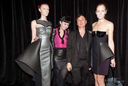 Claudia Milham with Robert Di Giovani, Program Director of Fashion Design. Models to their left and right are dressed in designs by Claudia for her graduation showcase.