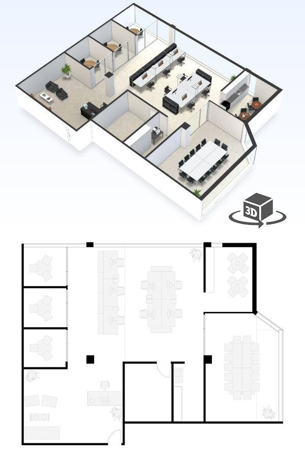Small Office Floor Plan In Interactive 3d Get Your Own 3d Model Today At Http Plant Commercial And Office Architecture Office Floor Plan Small Office Design