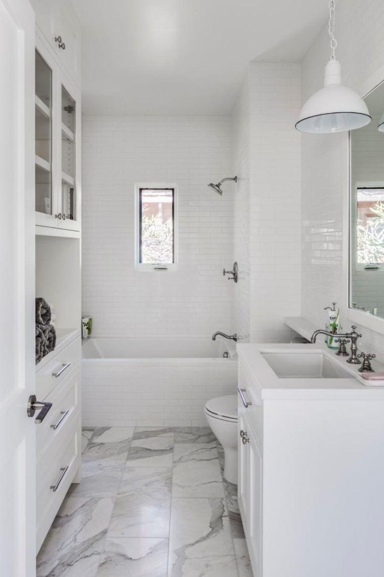 Espace Salle De Bain rénovation salle de bain petit espace carrelage marbre