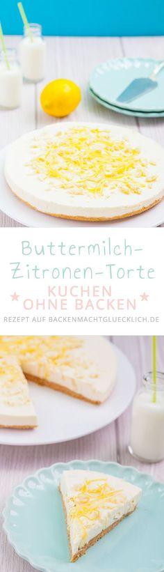 Sommerkuchen-Rezept: Erfrischende Zitronentorte ohne Backen - mit Keksknusperboden, einer Buttermilch-Frischkäse-Creme mit weißer Schokolade und einem Topping aus Zitrone und Schoki | www.backenmachtgluecklich.de