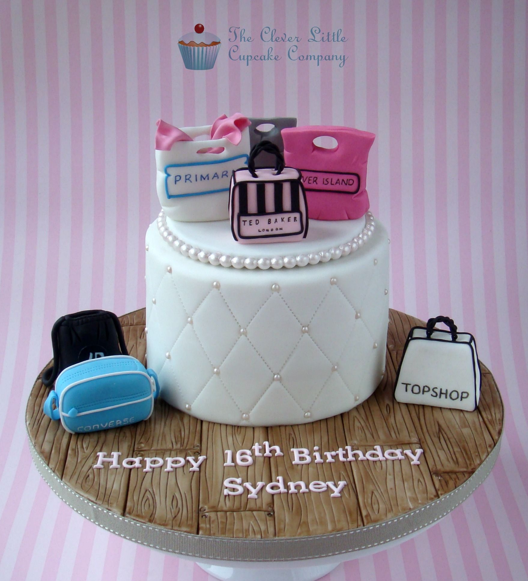 0869239919ad Pink Black Shopping Cake - Made for a teen girl turning 16 who just loves  to shop. Vanilla sponge.