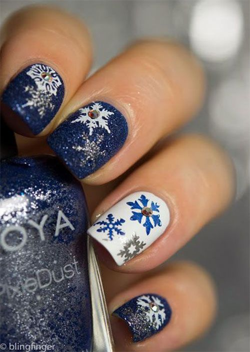 20 weihnachten schneeflocke acryl nagel kunst designs ideen aufkleber 2017 xmas nails nageldesign - Acrylngel Muster
