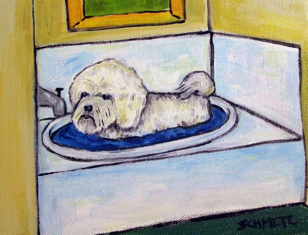 DACHSHUND BATH painting animal pet dog Art print 4x6  glossy photo print